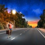 Autostopresande Arkivbild