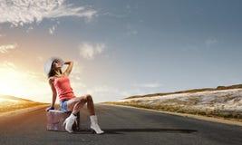 Autostopresande Royaltyfri Fotografi