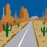 Autostraße unter Kaktus und Sand Lizenzfreie Stockbilder