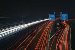 Autostrada A1 alla notte Fotografia Stock