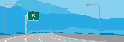 Autostrada, autostrady zieleń lub chył signage z lotniskiem i podpisujemy wewnątrz dzienną ilustrację ilustracja wektor