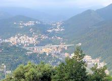 Autostrada bridżowy pobliski Genova Włochy Zdjęcie Royalty Free