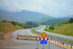 Autostrada in costruzione in Serbia fotografia stock