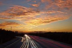 autostrada i zmierzch Fotografia Royalty Free