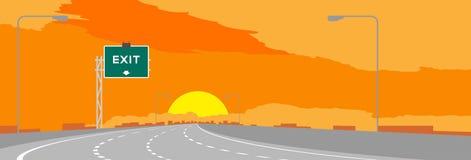 Autostrada, autostrada lub zieleni signage z wyjściem podpisujemy wewnątrz surise, zmierzchu czasu ilustracja ilustracja wektor