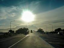 autostrada nad wycofywać słońca Zdjęcia Royalty Free