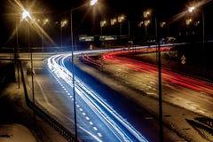 Autostrada podczas nocy Obraz Stock