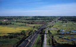 autostrada powietrzny widok obrazy royalty free