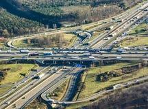 Autostrada przy frankfurter kreuz w popołudniu Zdjęcia Stock