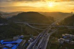 Autostrada przy wschodem słońca Obrazy Stock