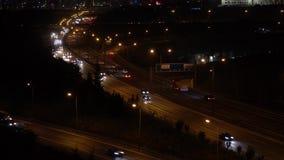 Autostrada ruch drogowy przy nocą, Istanbuł, Turcja zbiory