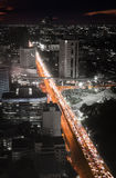 Autostrada ruchu drogowego dżem w nocy Zdjęcie Royalty Free