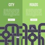Autostrada ruchu drogowego sztandar z skrzyżowaniem drogi ilustracji