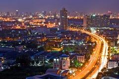 Autostrada senza pedaggio di Bangkok alla città Fotografie Stock Libere da Diritti