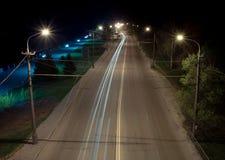 Autostrada senza pedaggio vuota alla notte Fotografia Stock Libera da Diritti