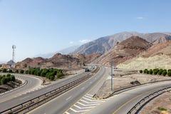 Autostrada w Oman, Środkowy Wschód Obrazy Royalty Free
