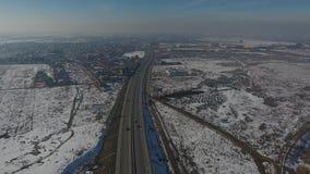 Autostrada widzieć od above, trutnia widok zbiory