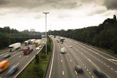 Autostrada wokoło Antwerp z samochodami Zdjęcia Royalty Free