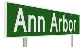 Autostrada znak dla Ann Arbor Michigan Obraz Stock