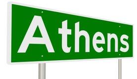 Autostrada znak dla Ateny Zdjęcia Royalty Free