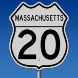 Autostrada znak dla Massachusetts trasy 20 Fotografia Royalty Free