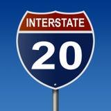 Autostrada znak dla Międzystanowej trasy 20 Zdjęcia Stock