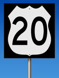 Autostrada znak dla trasy 20 Zdjęcie Royalty Free