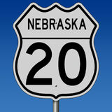 Autostrada znak dla trasy 20 w Nebraska Obraz Royalty Free