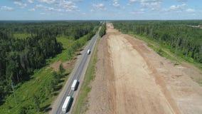 Autostrady budowy widok z lotu ptaka zdjęcie wideo