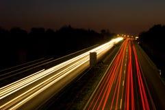 autostrady nocy ruchu Obrazy Stock