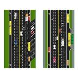 Autostrady planowanie drogi, ulicy z parking i transport publiczny, Wizerunki różnorodni samochody, pasy ruchu dla transportu pub Obraz Royalty Free