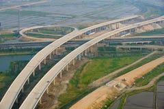 Autostrady złącze, antena zdjęcia royalty free