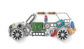 Autoteile in der Form des Autos lizenzfreie abbildung