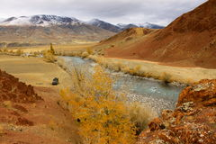 Autotravel the mountains of Altai Stock Image