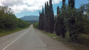 Autotravel Summer south of Crimea. Beautiful serpentine mountain roads. stock video