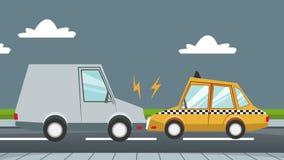Autounfall auf Animation der Straße HD vektor abbildung