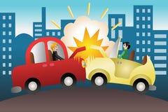 Autounfall in der Stadt Stockfotografie