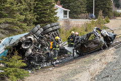 Autounfall gebrannt Lizenzfreie Stockbilder