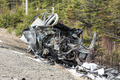 Autounfall gebrannt Stockbilder