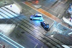 Autounfall im Schnee Lizenzfreie Stockfotografie