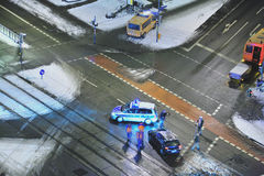 Autounfall im Schnee Lizenzfreie Stockfotos
