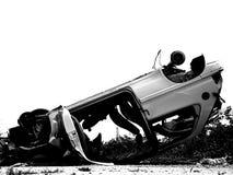 Autounfall in Schwarzweiss stockfotos