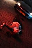 Autounfall-und Polizei-Leuchten stockbild