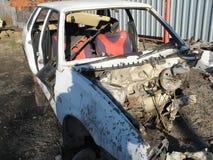 Autounfallunfall auf Stra?e, sch?digende Automobile nach Zusammensto? in der Stadt lizenzfreies stockfoto