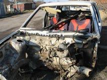 Autounfallunfall auf Stra?e, sch?digende Automobile nach Zusammensto? in der Stadt lizenzfreies stockbild