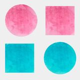 Autour de et milieux carrés d'aquarelle de vecteur couleur bleue et rose Photo libre de droits