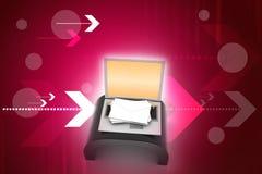 autour de l'enveloppe bleue du concept e de flèche à l'intérieur du blanc de symbole de feuille de courrier Ordinateur portable e Image libre de droits