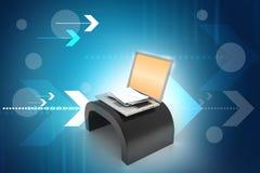autour de l'enveloppe bleue du concept e de flèche à l'intérieur du blanc de symbole de feuille de courrier Ordinateur portable e Images stock
