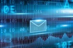 autour de l'enveloppe bleue du concept e de flèche à l'intérieur du blanc de symbole de feuille de courrier Images stock