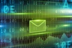 autour de l'enveloppe bleue du concept e de flèche à l'intérieur du blanc de symbole de feuille de courrier Photos stock